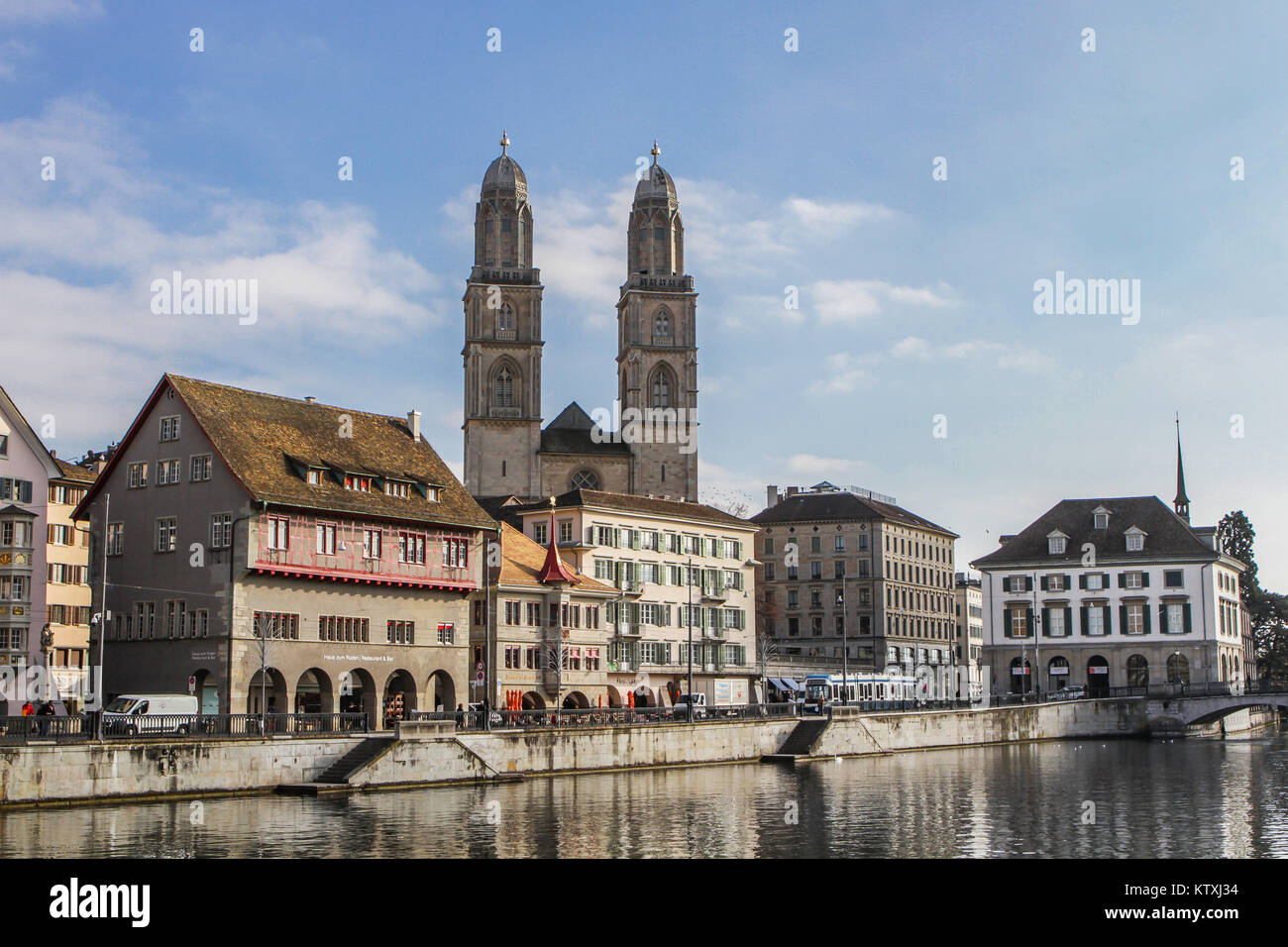 old town of Zurich or Zürich, Switzerland, view to Limmatquai with protestant church Grossmünster and - Stock Image