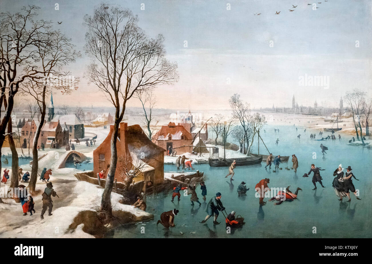 January - Ice Skating by Jan Wildens (1586-1653), oil on canvas, c.1614 - Stock Image