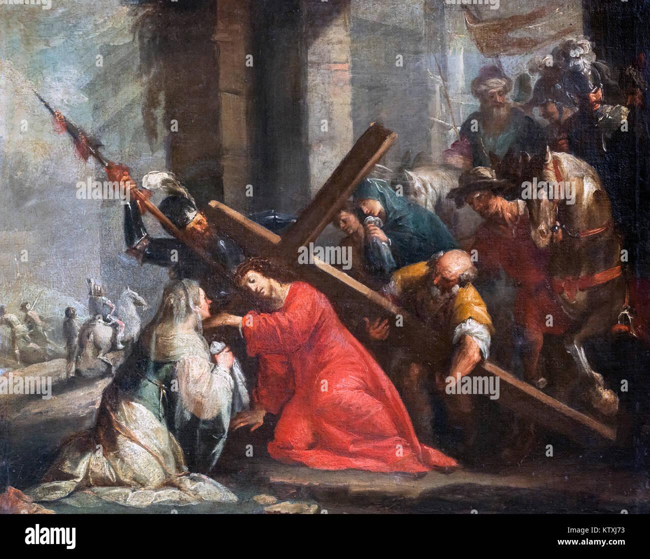 Christ Stumbles on the Road to Calvary (Cristo Cade sulla Strada del Calvario) by Giulio Benso (1592-1668) - Stock Image