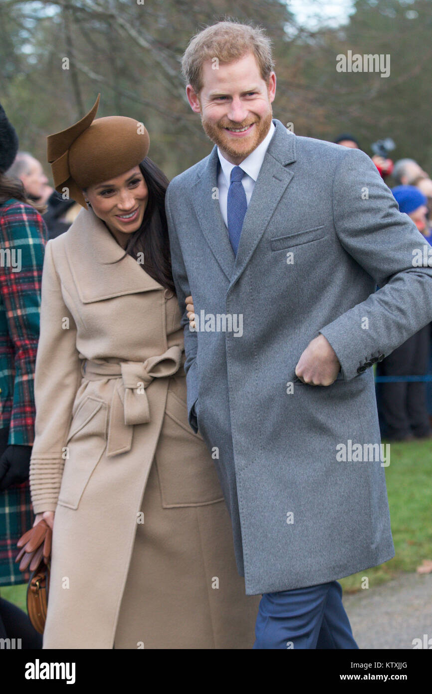 Picture dated December 25th 2017 shows The Duke and Duchess of Cambridge, Meghan Markle and Prince Harry at the Stock Photo