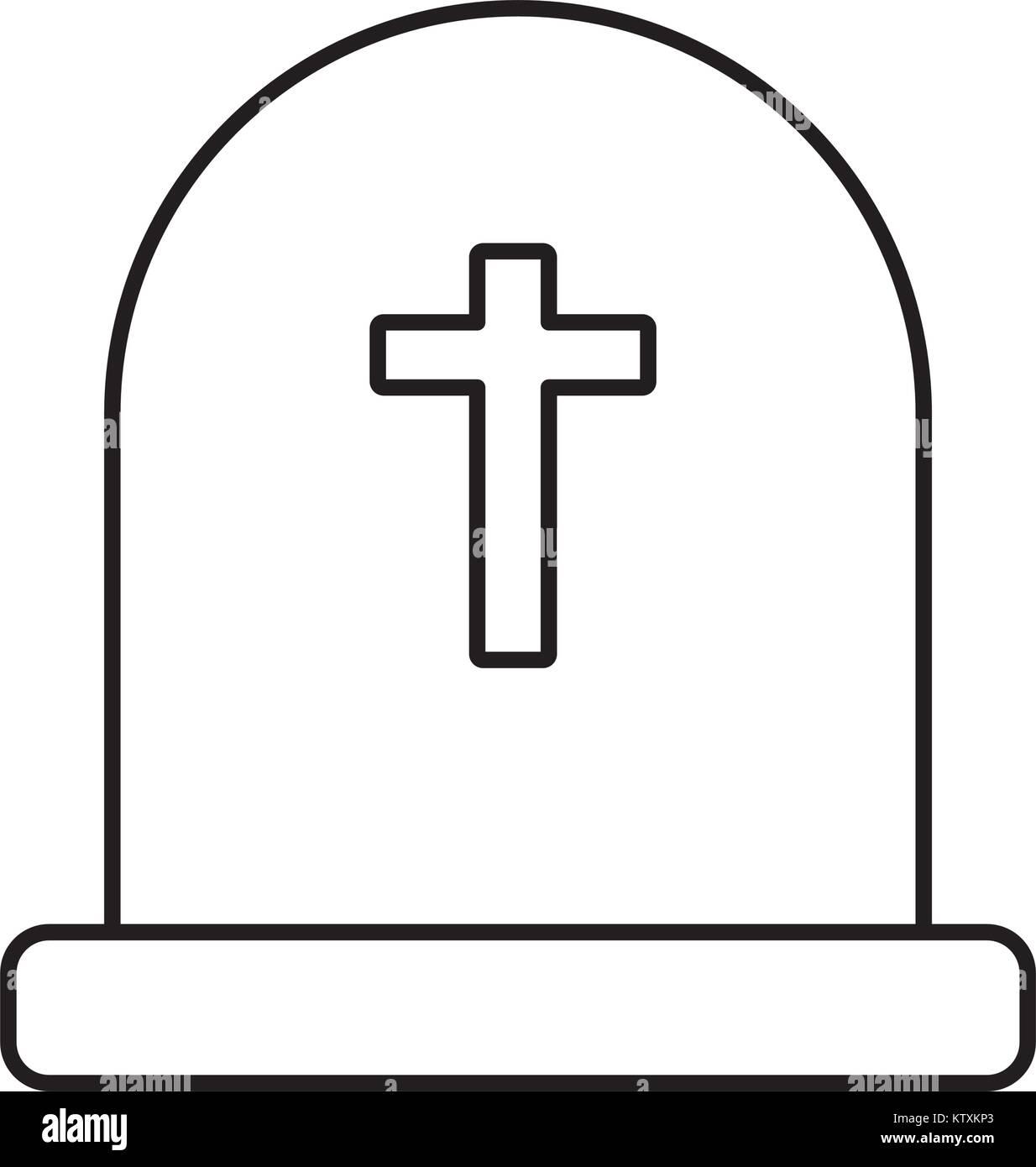 Cemetery tombstone isolated - Stock Vector