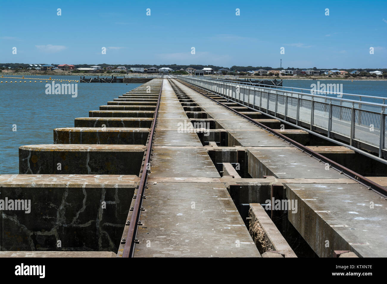 Goolwa Barrage Lock, South Australia. In landscape orientation looking out over the length of the lock from the - Stock Image