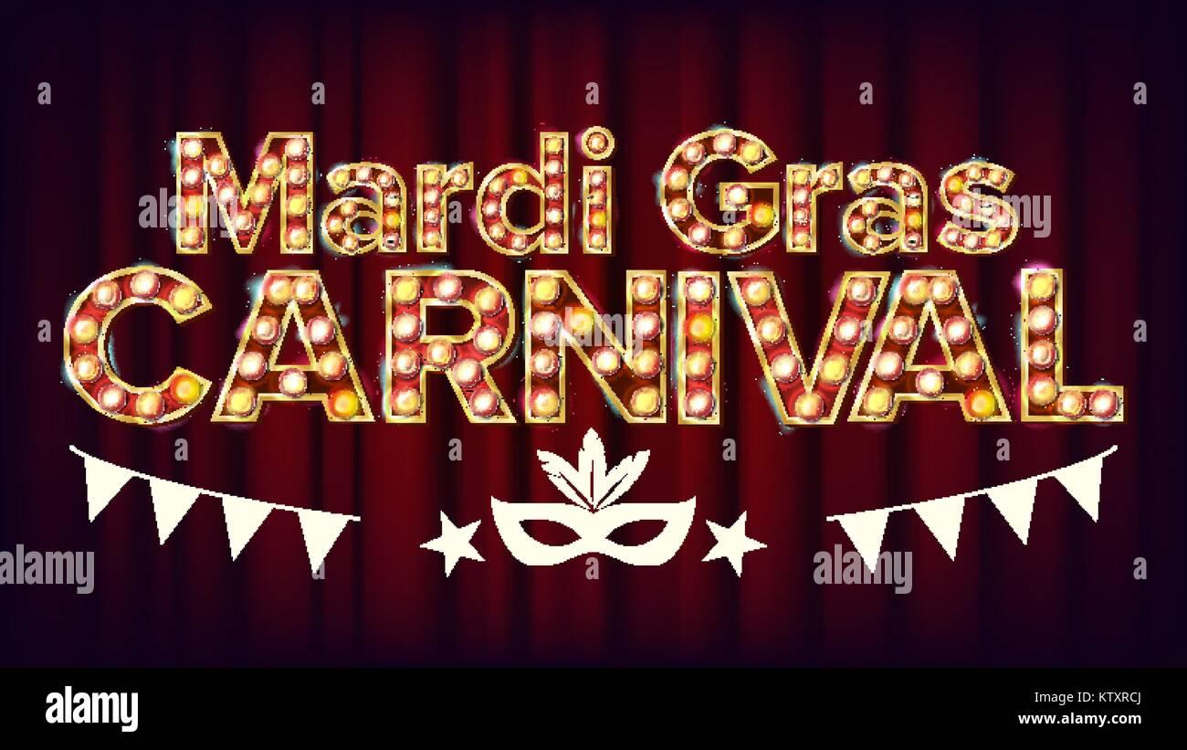 Mardi Gras Carnival Banner Vector. Carnival Vintage Golden Illuminated Neon Light. For Greeting Card, Party Invitation Stock Vector