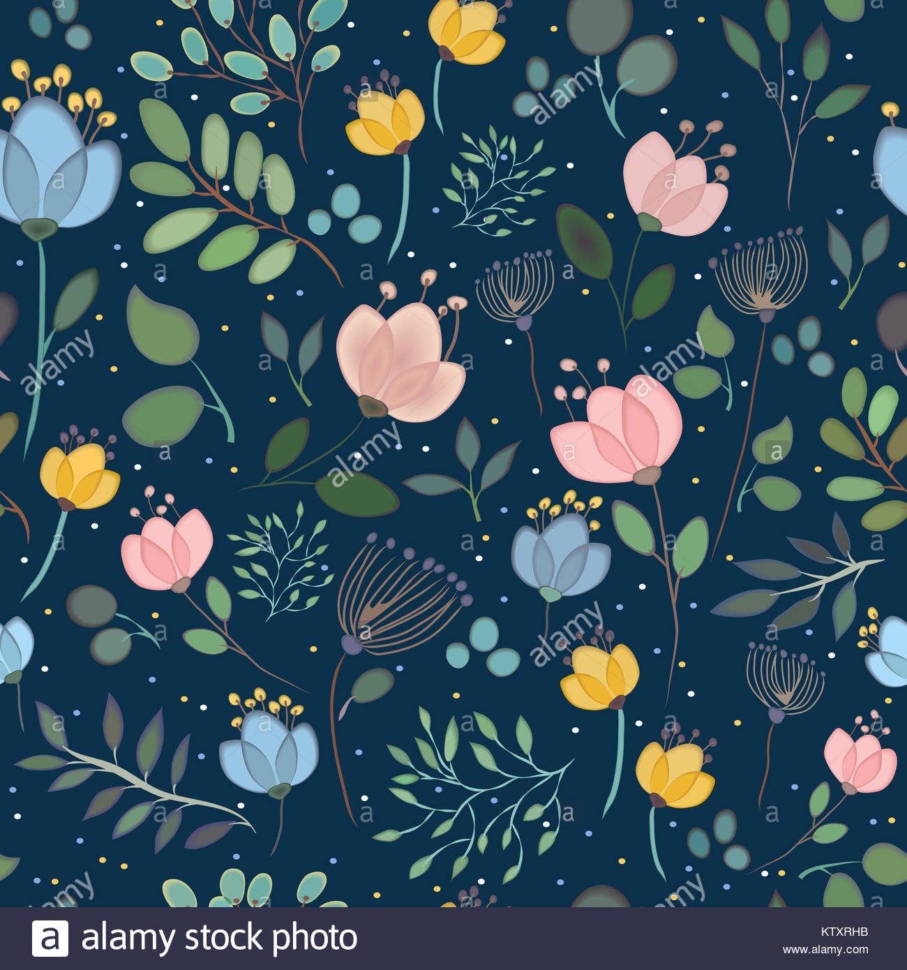 Summerly seamless pattern with watercolor flowers. Spring night. Summer night. Colorful flowers and plants with - Stock Image