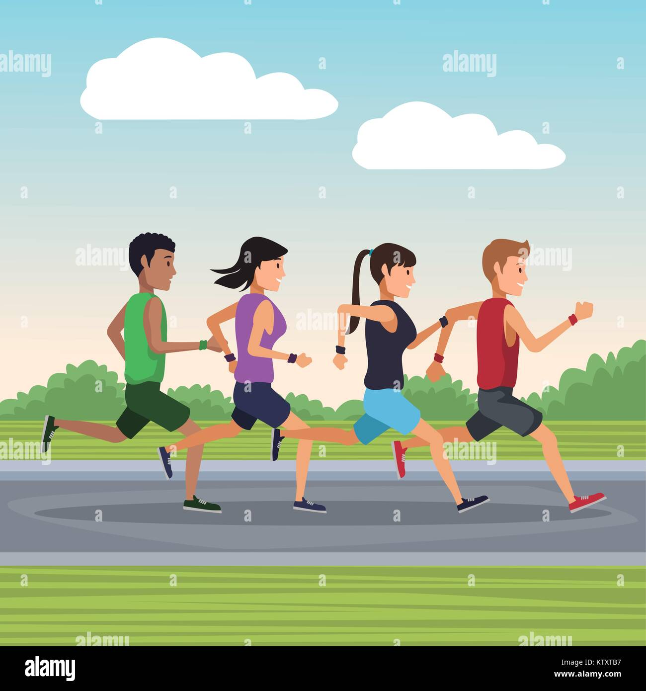 People running outside - Stock Vector