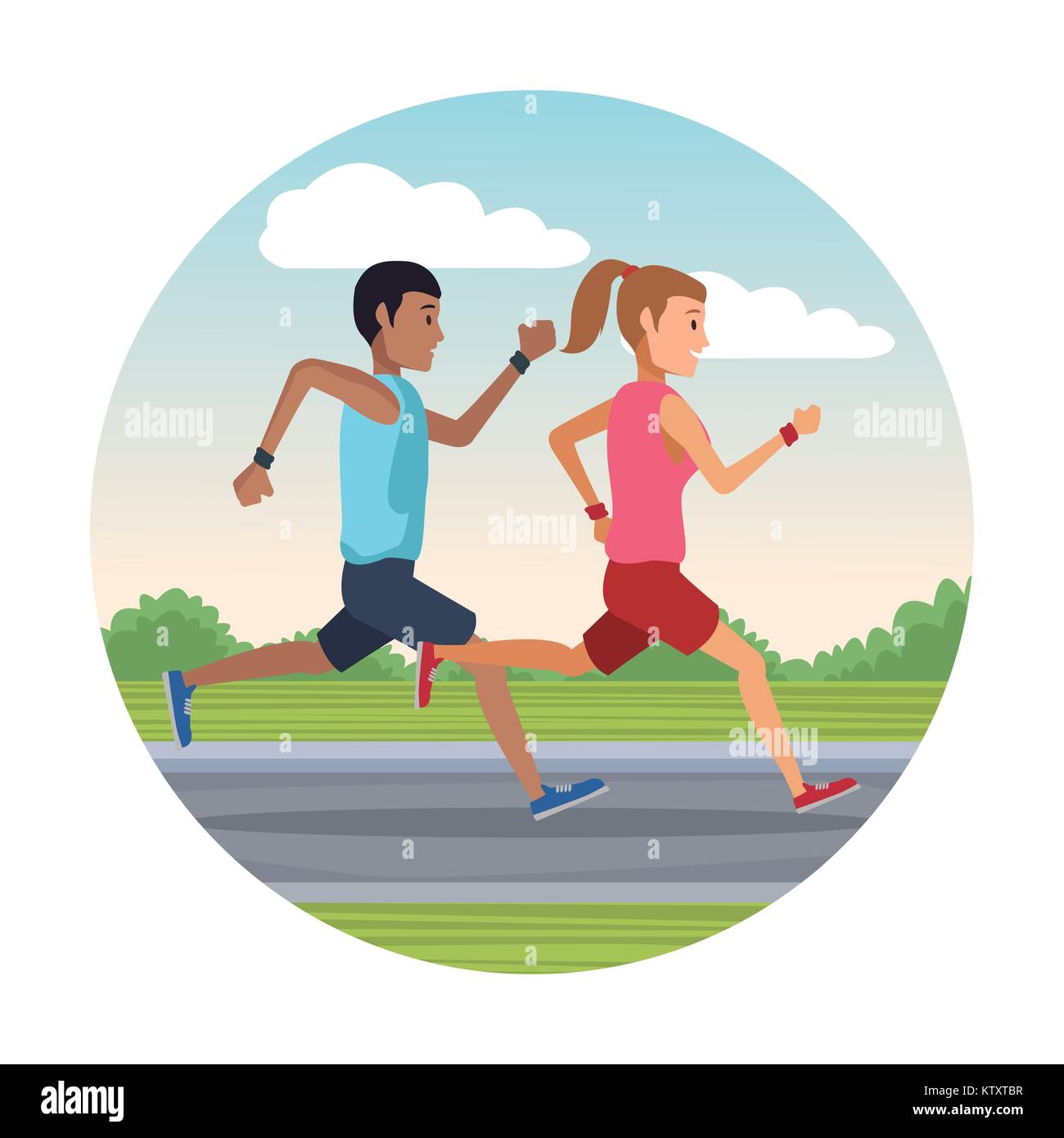 couple running outside round icon - Stock Vector