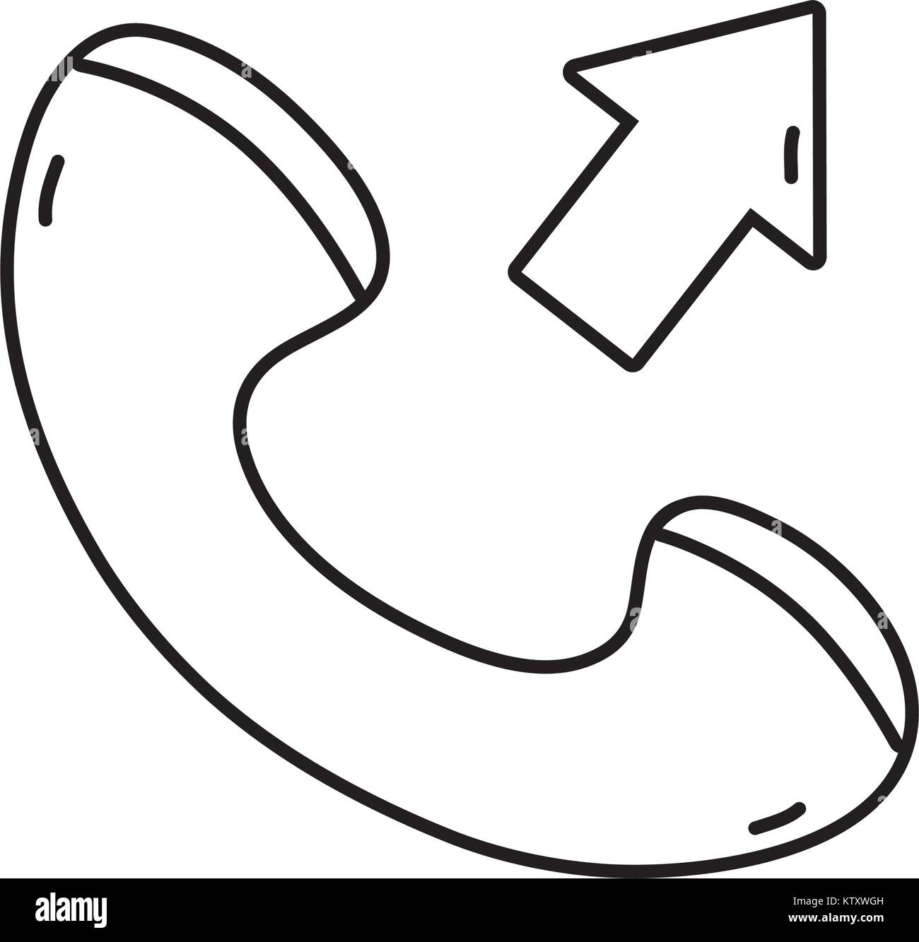 line phone call received sign telephone icon - Stock Image