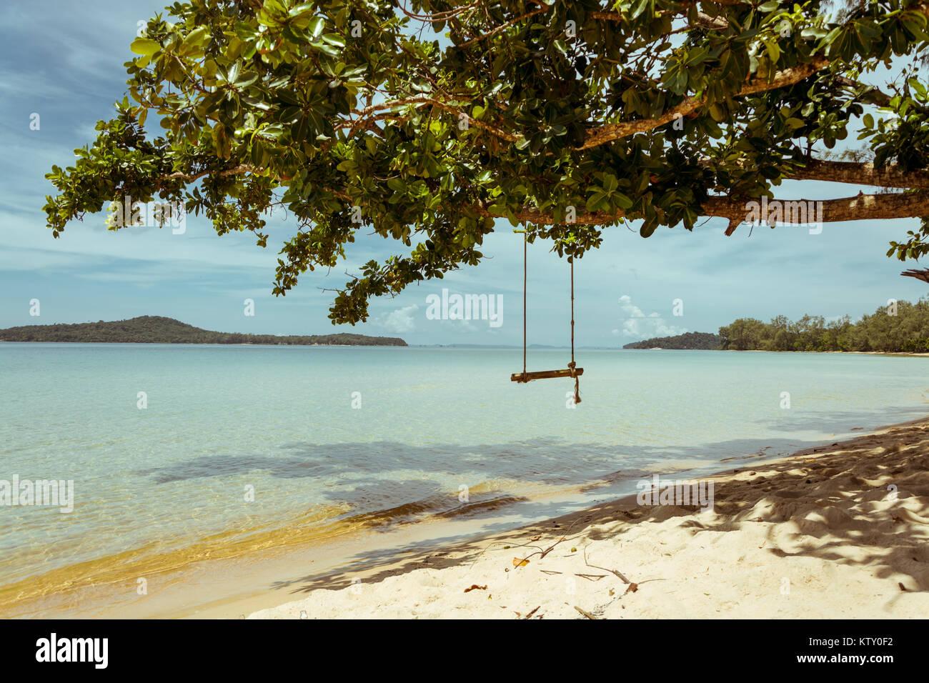 Paradise swing on a Cambodian Island near Sihanoukville. - Stock Image