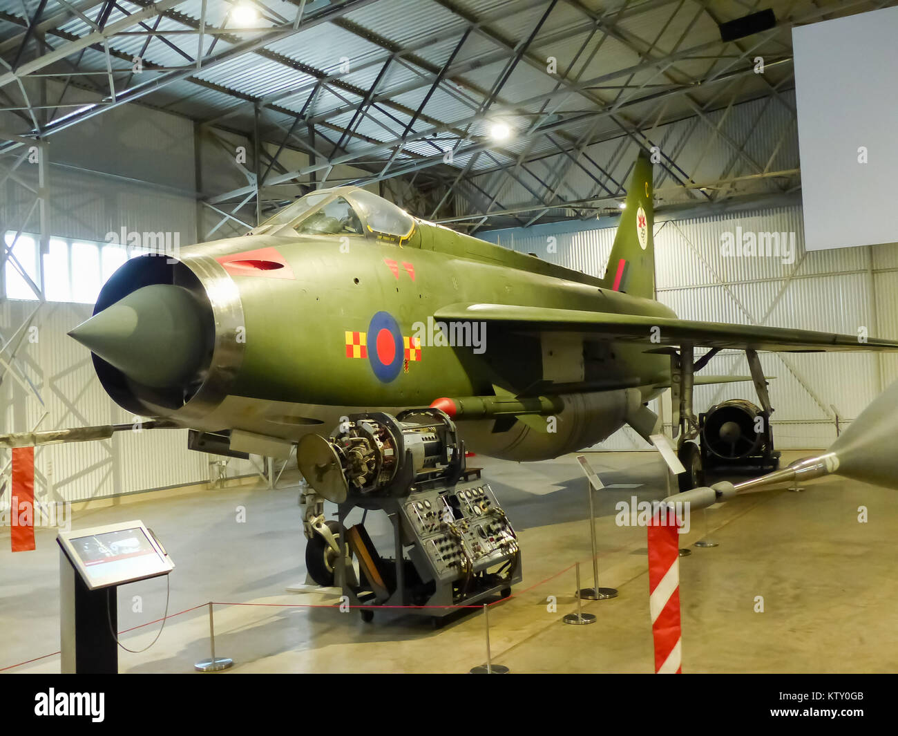 An English Electric Lightning F2A on display at the Fortune Museum of Flight in Scotland Stock Photo