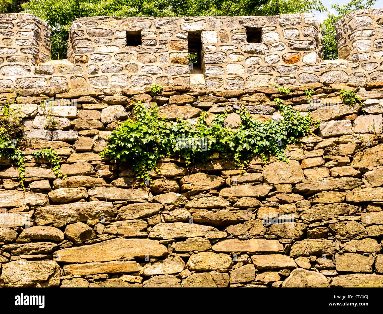 Old fortress wall at the Namsan Park in Seoul, South Korea - Stock Image