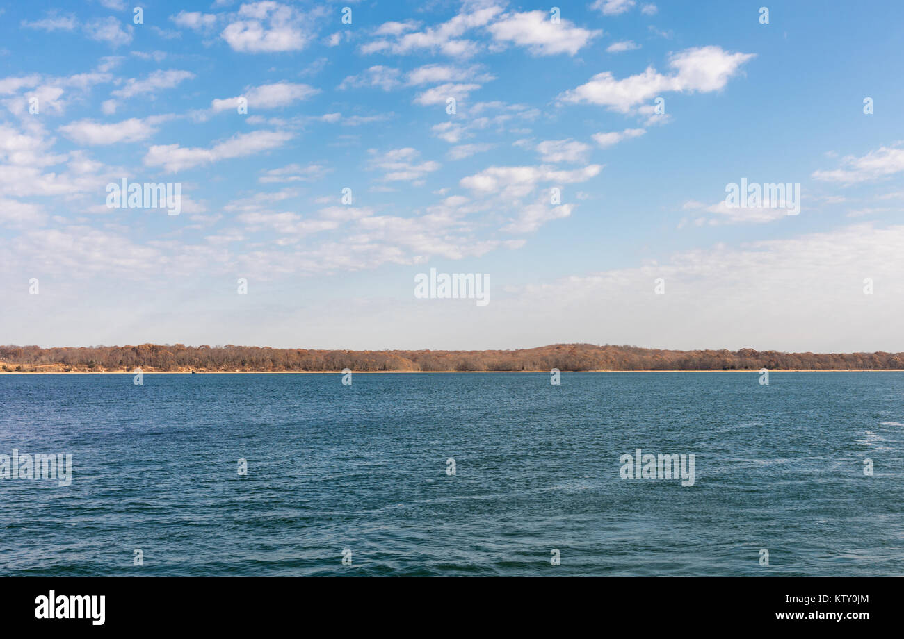 water view and distant land of shelter island in the background - Stock Image