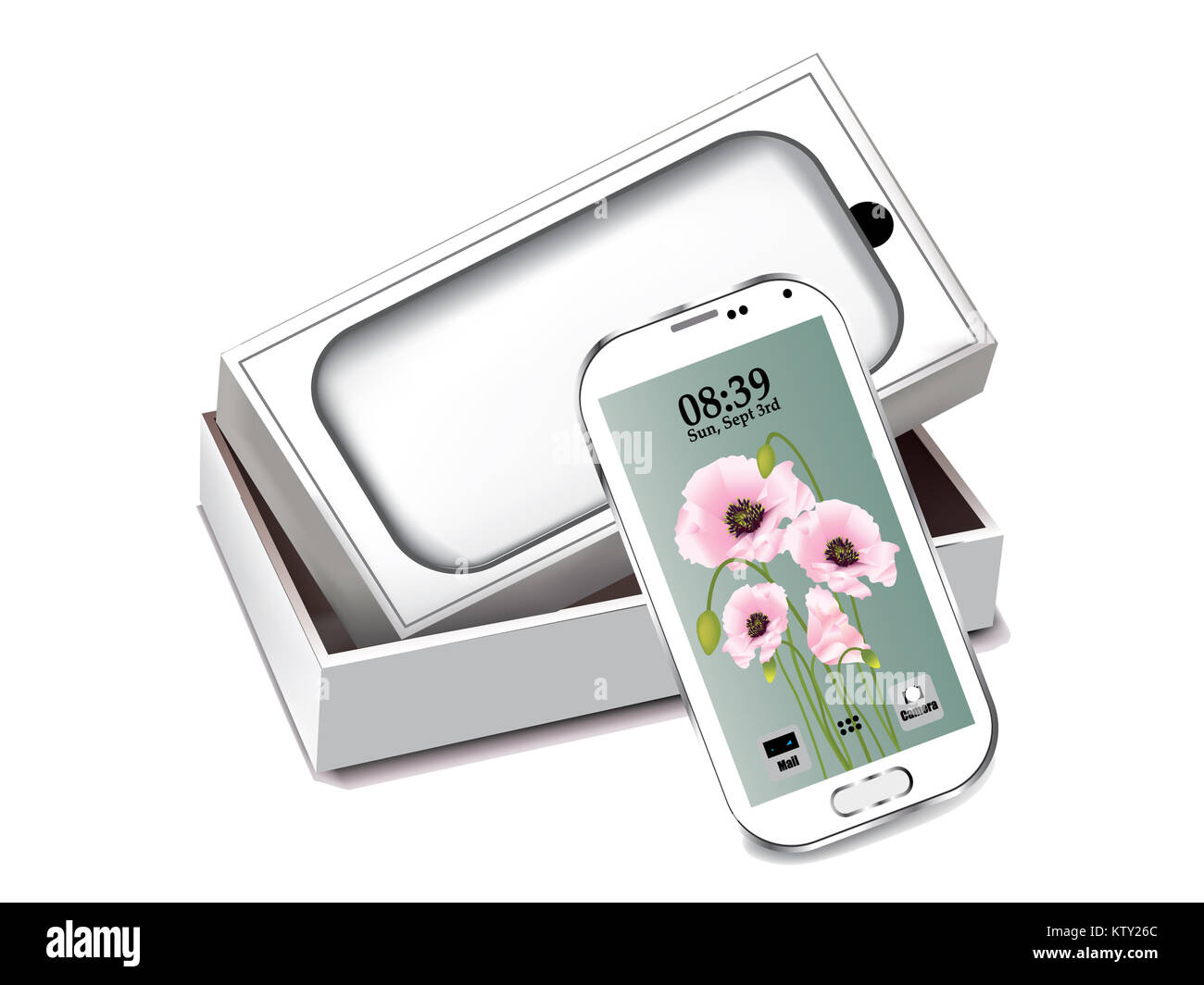 White mobile phone with white packaging isolated - Stock Image