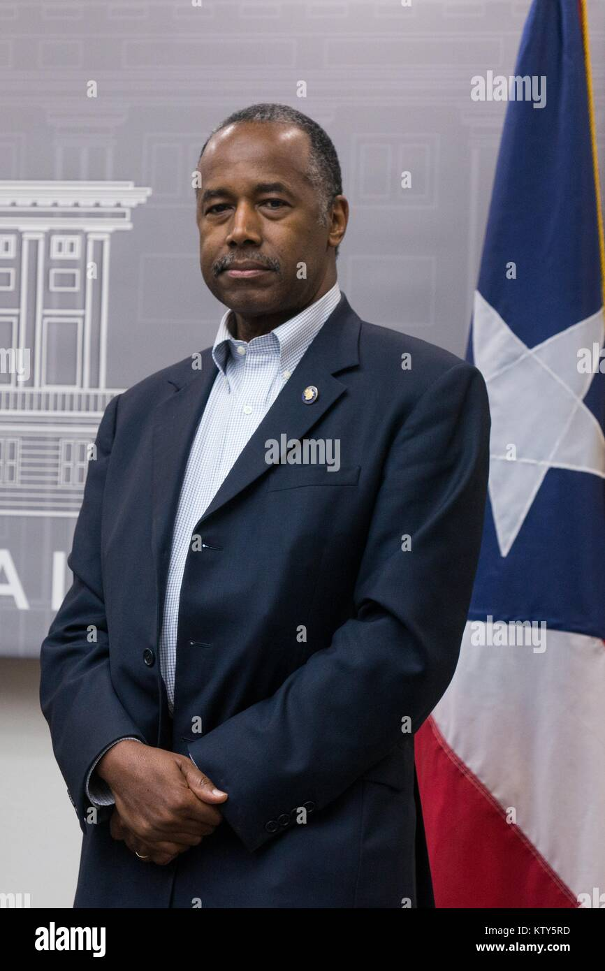 U.S. Housing and Urban Development Secretary Ben Carson attends a press conference about relief efforts after Hurricane Stock Photo
