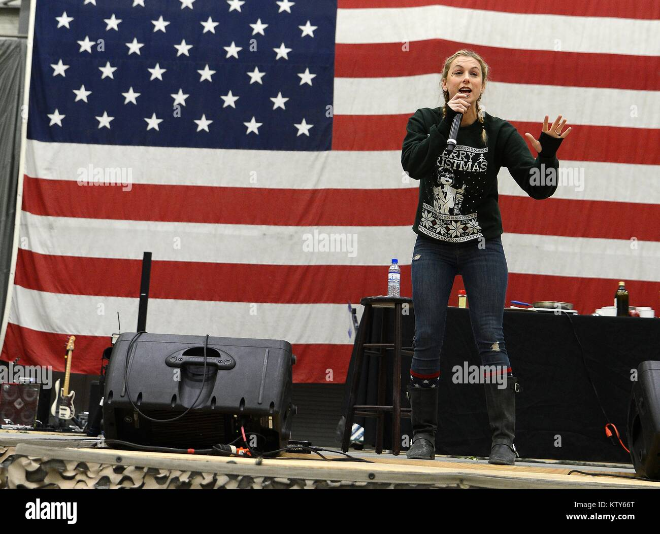 Comedian Iliza Shlesinger performs for U.S. soldiers during the USO Holiday Tour at the Bagram Airfield December - Stock Image