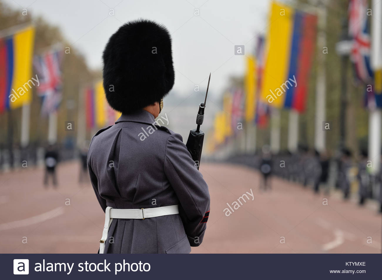 Pictured is a guardsman looking down the Mall as final preparations are made for the Colombian State Visit.  No - Stock Image