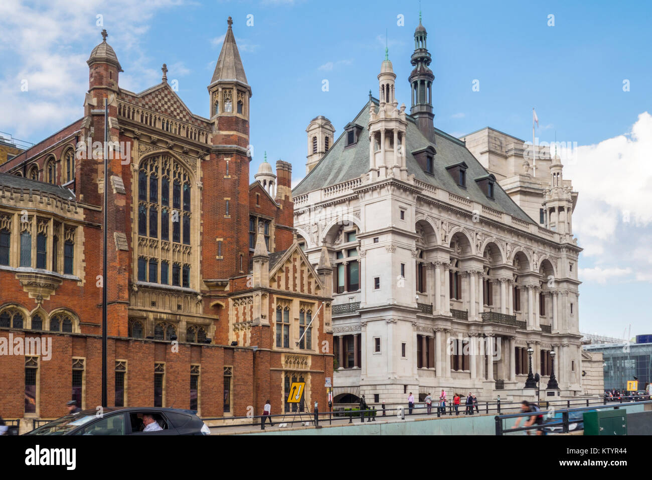 Victorian Buildings Sion Hall Left 60 Victoria Embankment Former Stock Photo Alamy