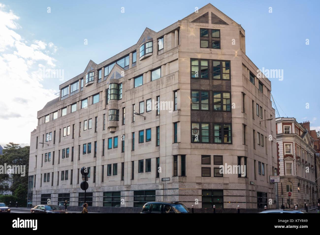 Postmodern building Dowgate Hill House by Hamilton Associates (1987-89), Upper Thames Street, City of London, UK - Stock Image