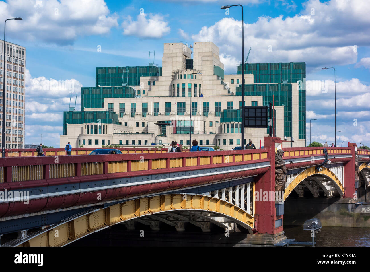 SIS Building, MI6 Building, Vauxhall Cross headquarters of the Secret Intelligence Service, Albert Embankment,Vauxhall, - Stock Image