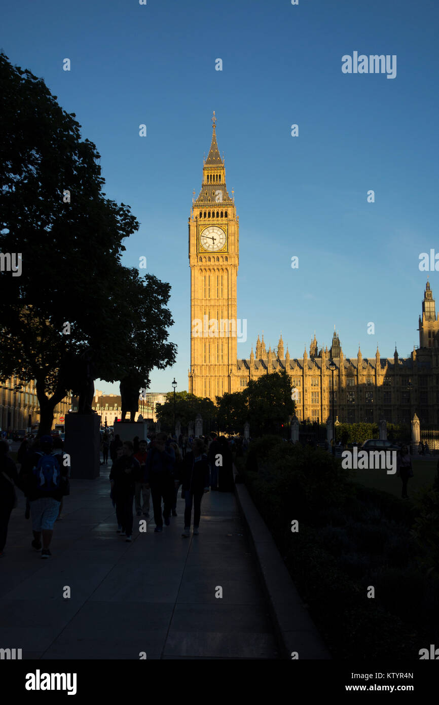 Big Ben Elizabeth Tower, Houses of Parliament, Palace of Westminster, Parliament Square, London, UK - Stock Image