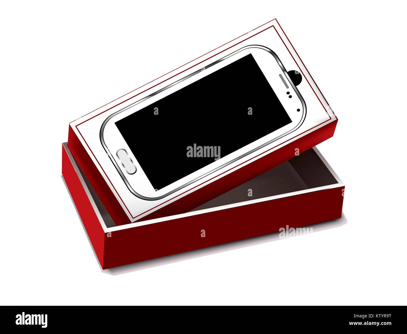White mobile with red packaging on white background - Stock Image