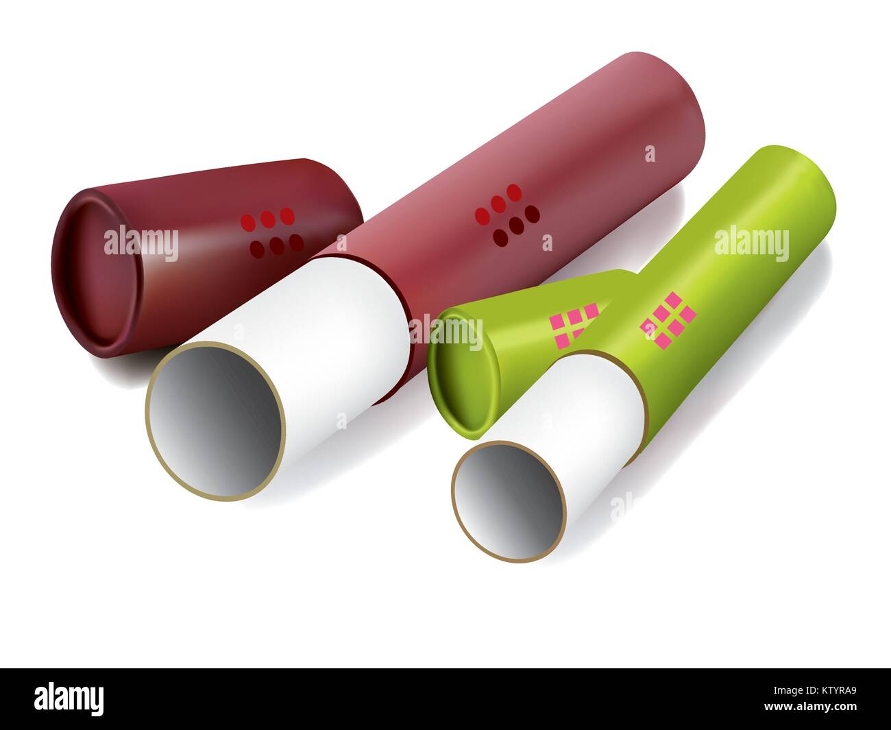 Colored packaging cylindrical tube on white background - Stock Vector