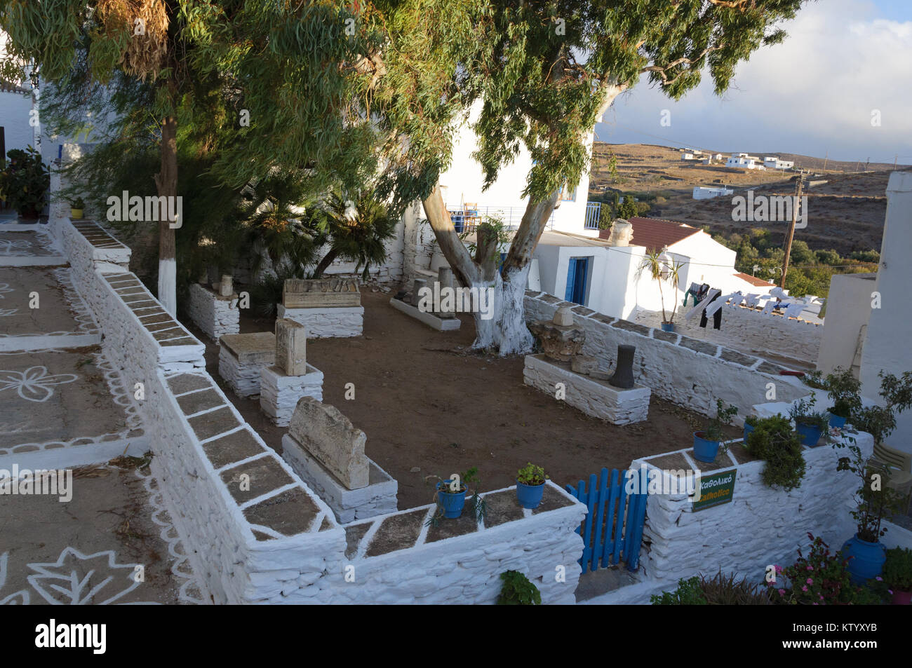 Fenced area in Kythnos chora with archeological findings - Stock Image