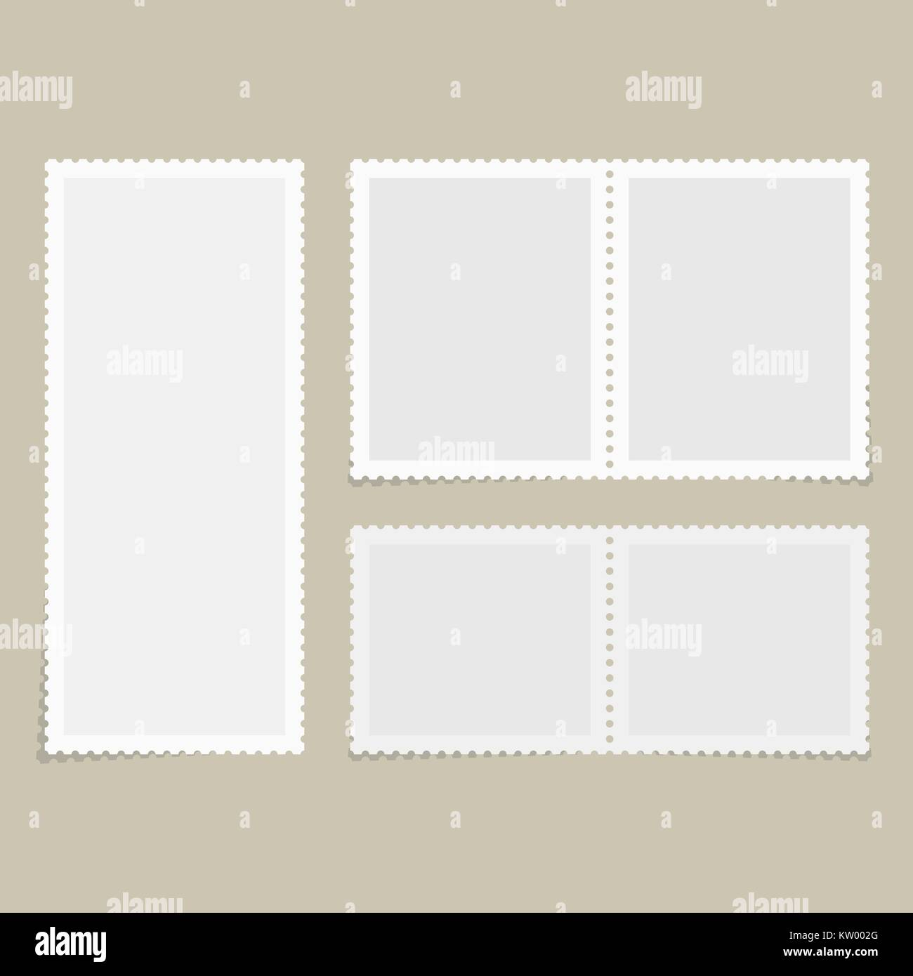 Postage stamps for postcard - Stock Vector