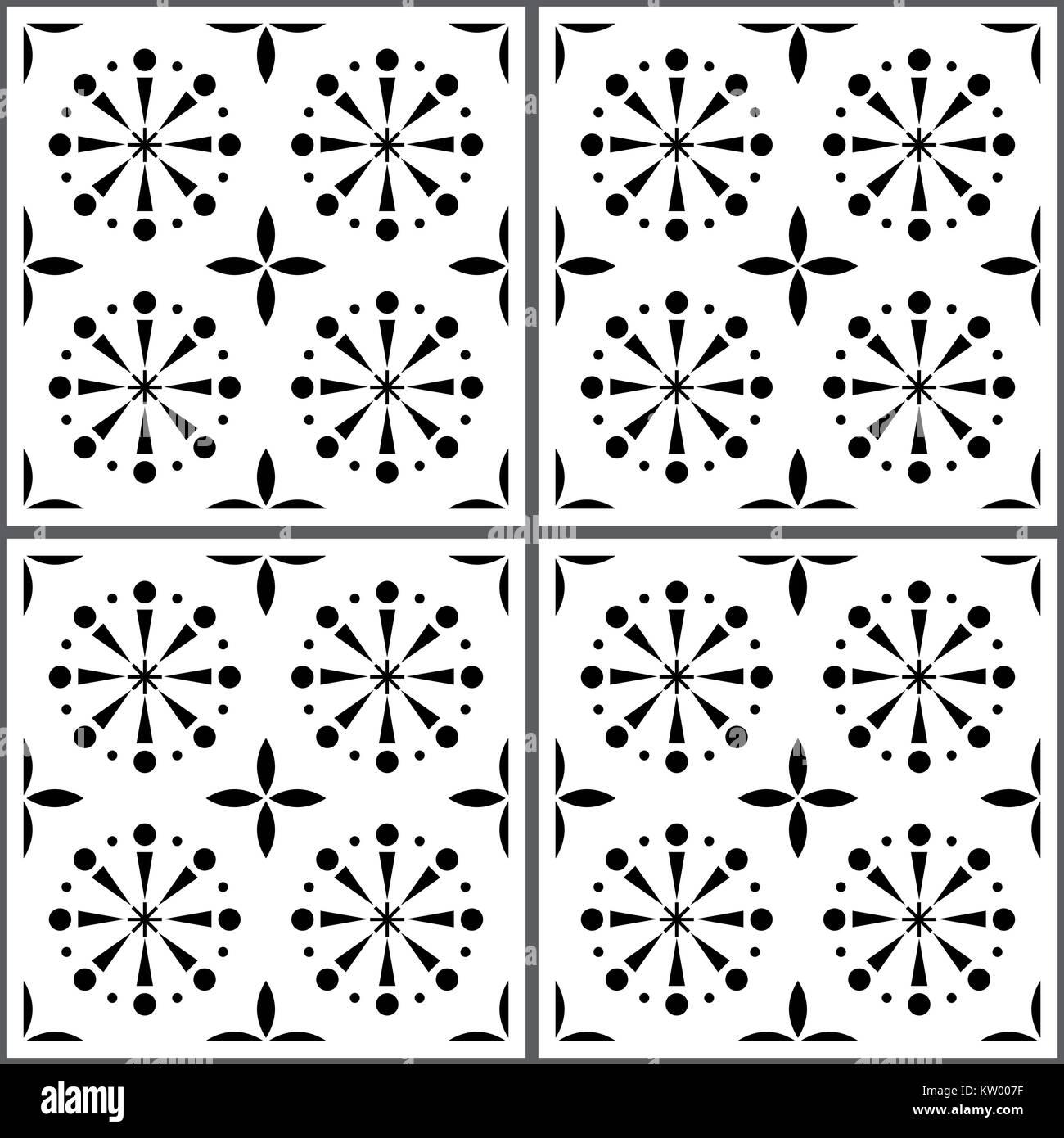 Portuguese vector tile pattern, Lisbon seamless black and white tiles, Azulejos vintage geometric ceramics - Stock Vector