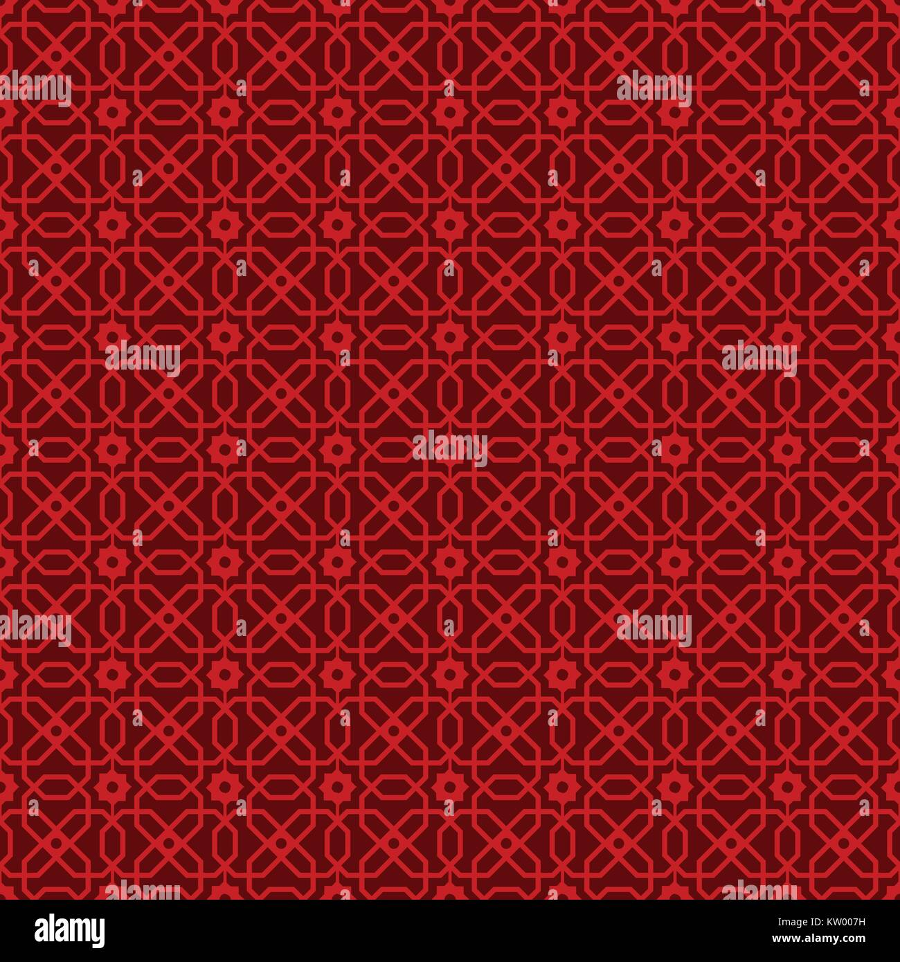 Seamless Vintage Chinese Window Tracery Polygon Star Flower Pattern