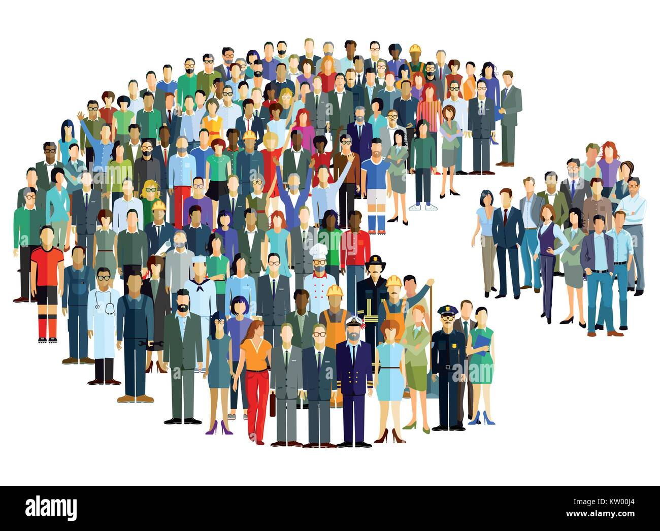 Groups of people statistics, crowd community, Illustration - Stock Image