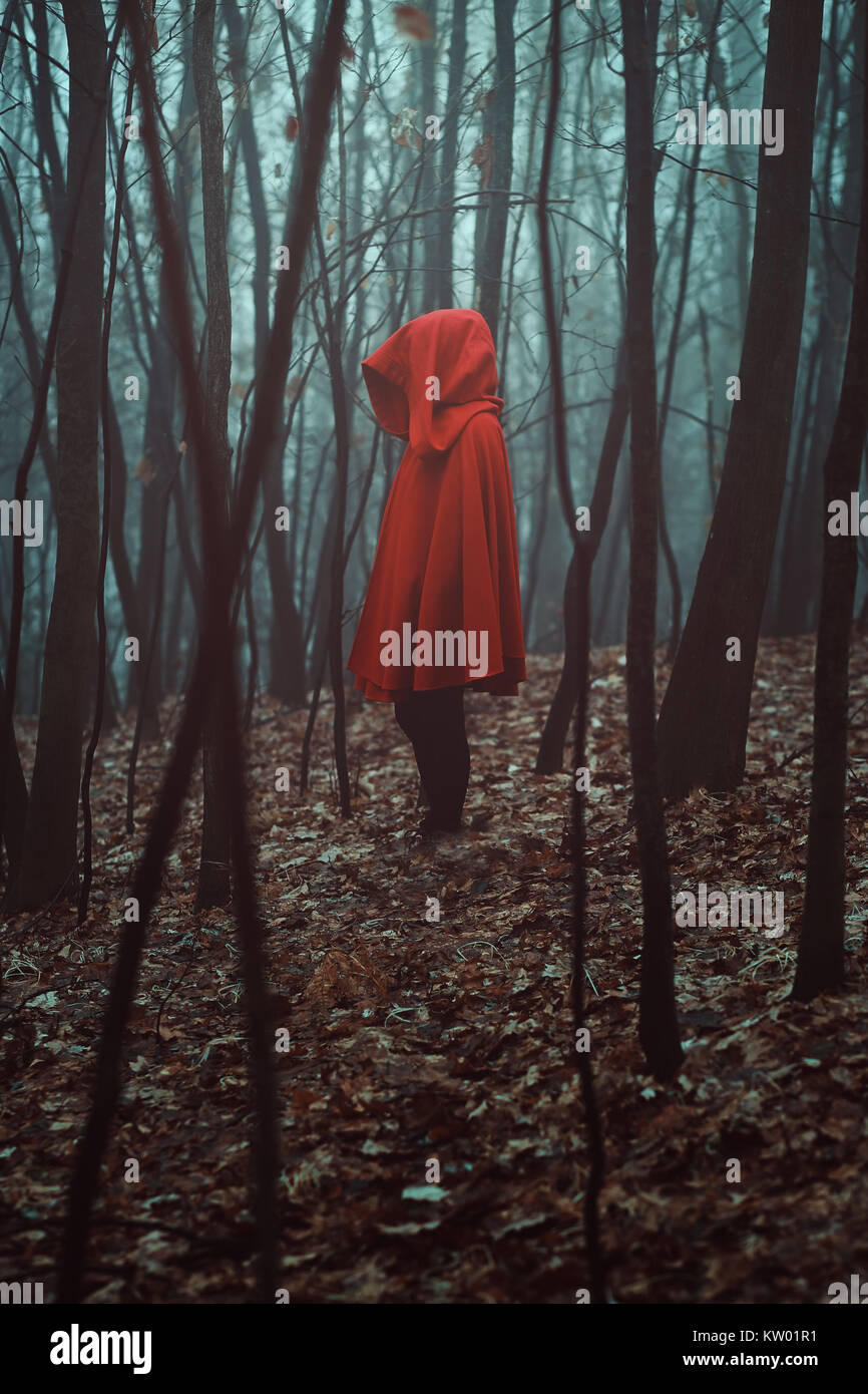 Mysterious figure in misty forest. Red hooded Stock Photo
