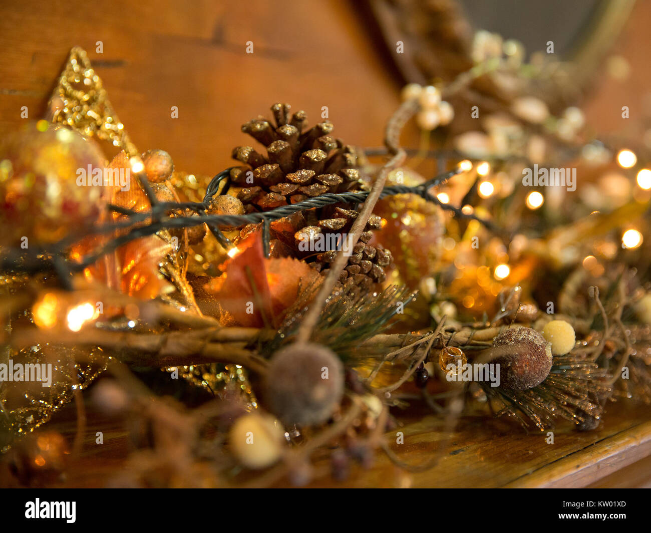 Christmas Decorations with Baubles, Stockings, Hearts, Sparkles, reindeer, fire place, Christmas eve - Stock Image