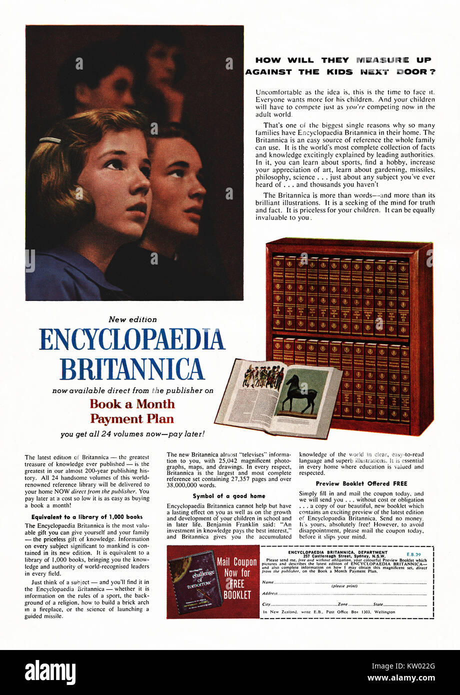A 1960s advert for a set of Encyclopaedia Britannica books. It appeared in an Australian magazine in 1962 - its - Stock Image