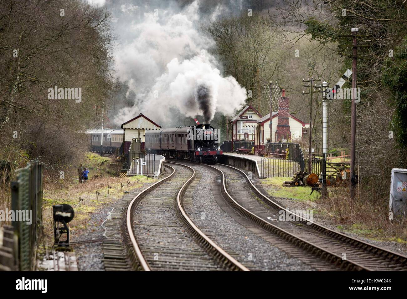 A steam train  on The Churnett Valley Railway near  Consall Station. - Stock Image