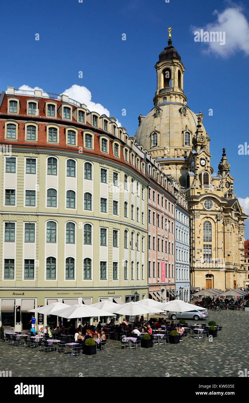 Dresden, New market with Church of Our Lady, Neumarkt mit Frauenkirche - Stock Image