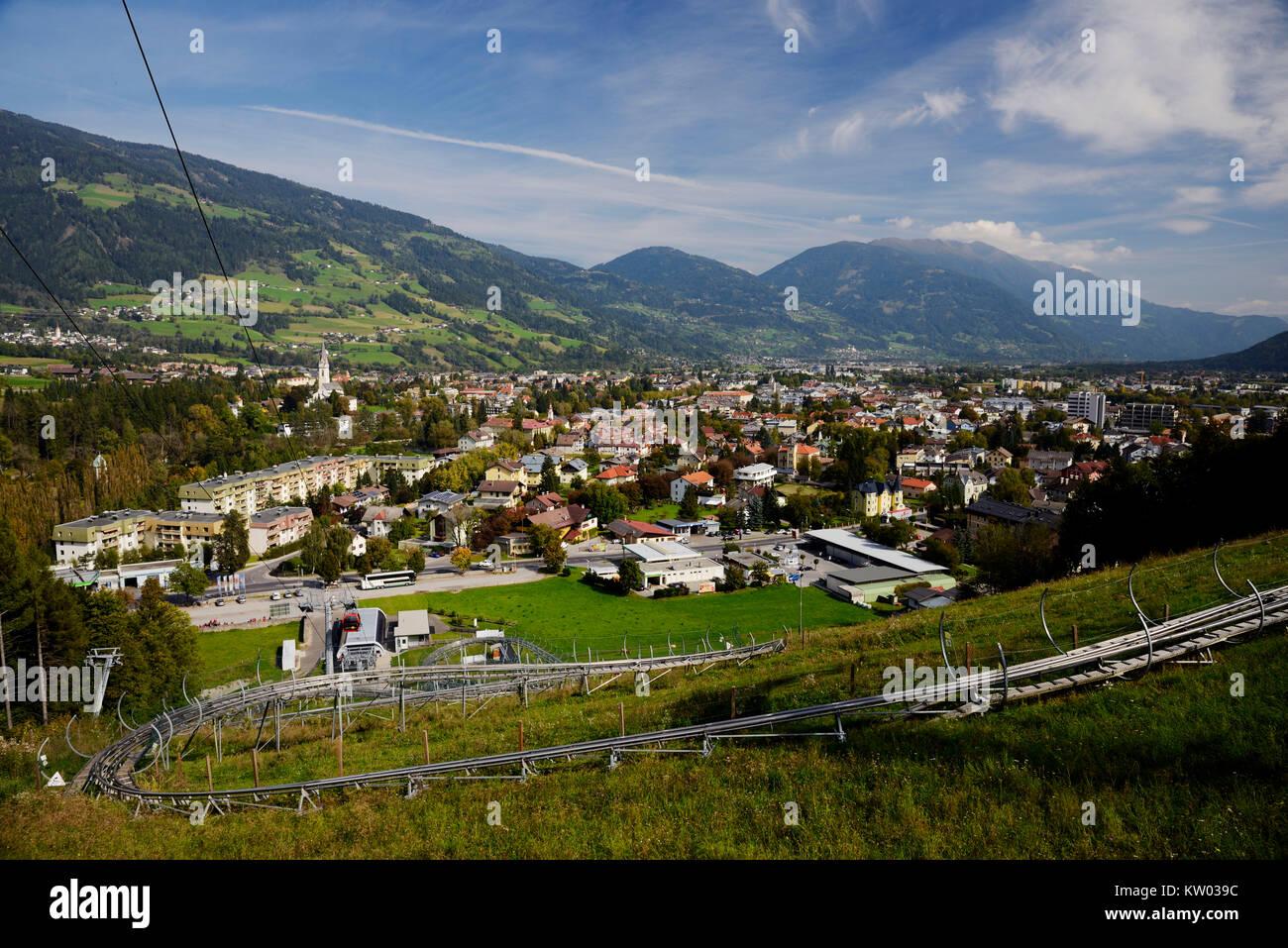 Osttirol Hohe Tauern, Town view Lienz from west, Stadtansicht Lienz aus Richtung West - Stock Image