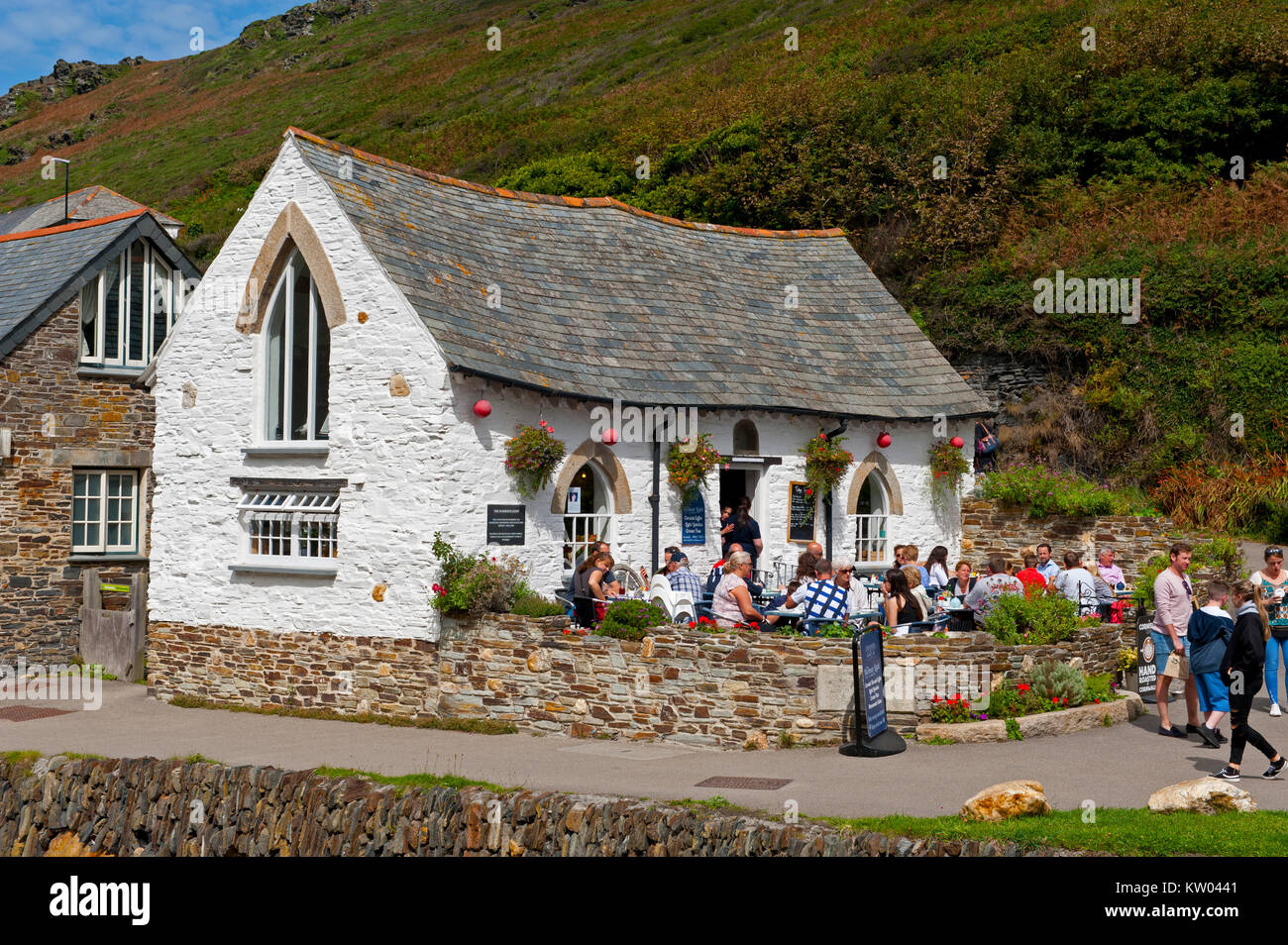 The reconstructed Harbour Light Café in Boscastle, Cornwall, UK Stock Photo