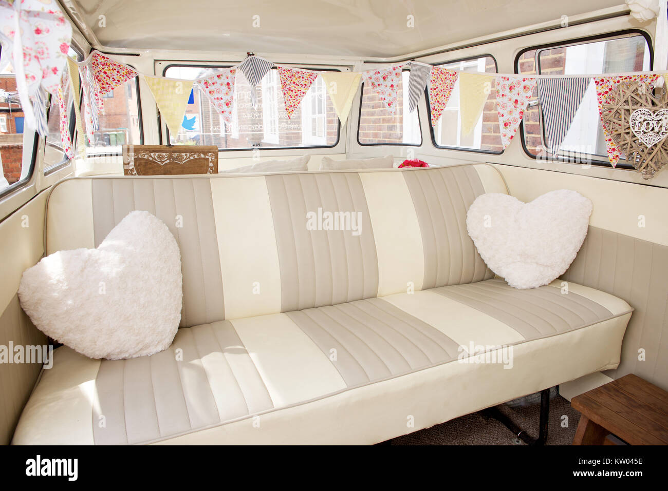 Interior Of A VW Camper Van As A Wedding Vehicle   Stock Image