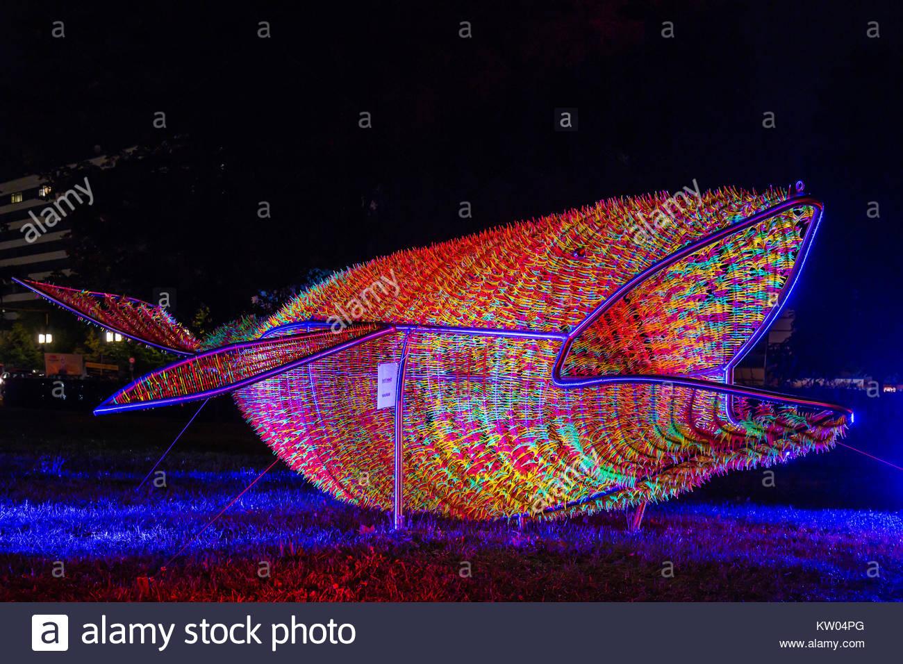 Der Wal vom Ernst-Reuter-Platz, eine Lichtskulptur beim Festival of Lights 2016 illuminiert in farbenprächtigen - Stock Image