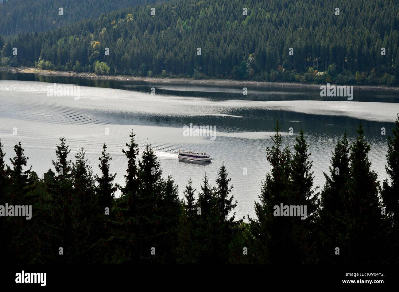 Black Forest, navigation on the Schluchsee, Schwarzwald, Schifffahrt auf dem Schluchsee - Stock Image