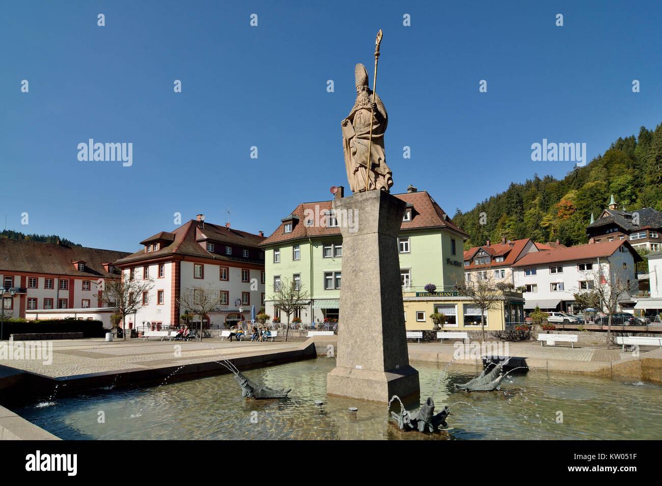 Saint Blasien, health resort Saint Blasien, Blasiusbrunnen on the cathedral place, Sankt Blasien, Kurort Sankt Blasien, - Stock Image