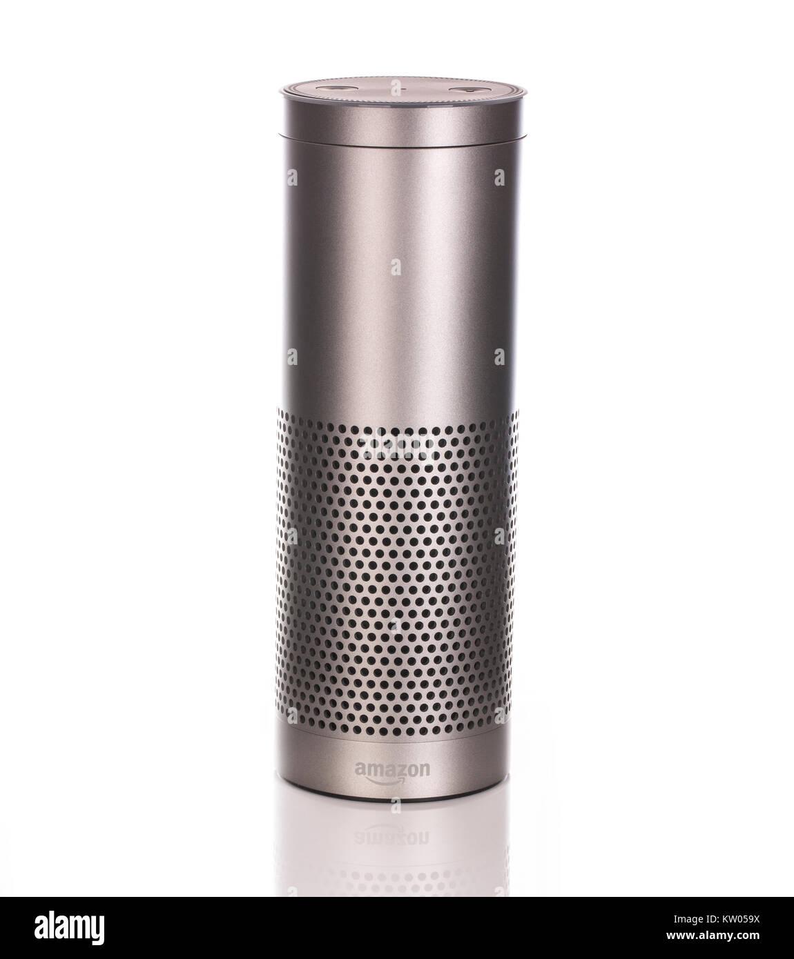 SWINDON, UK - DECEMBER 28, 2017:  Amazon Echo Plus in Silver on a white background - Stock Image