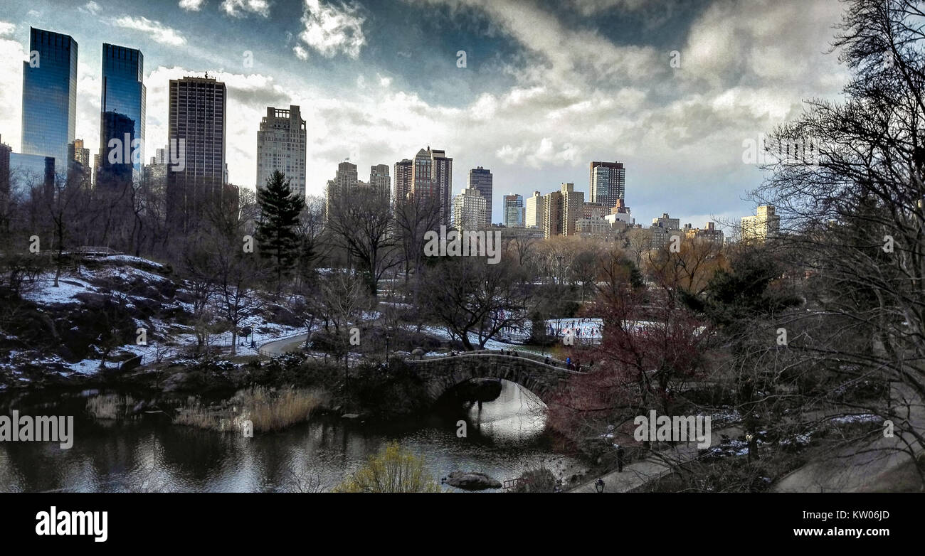 Spring sunset with gapstow bridge in central park, visited during March, - Stock Image