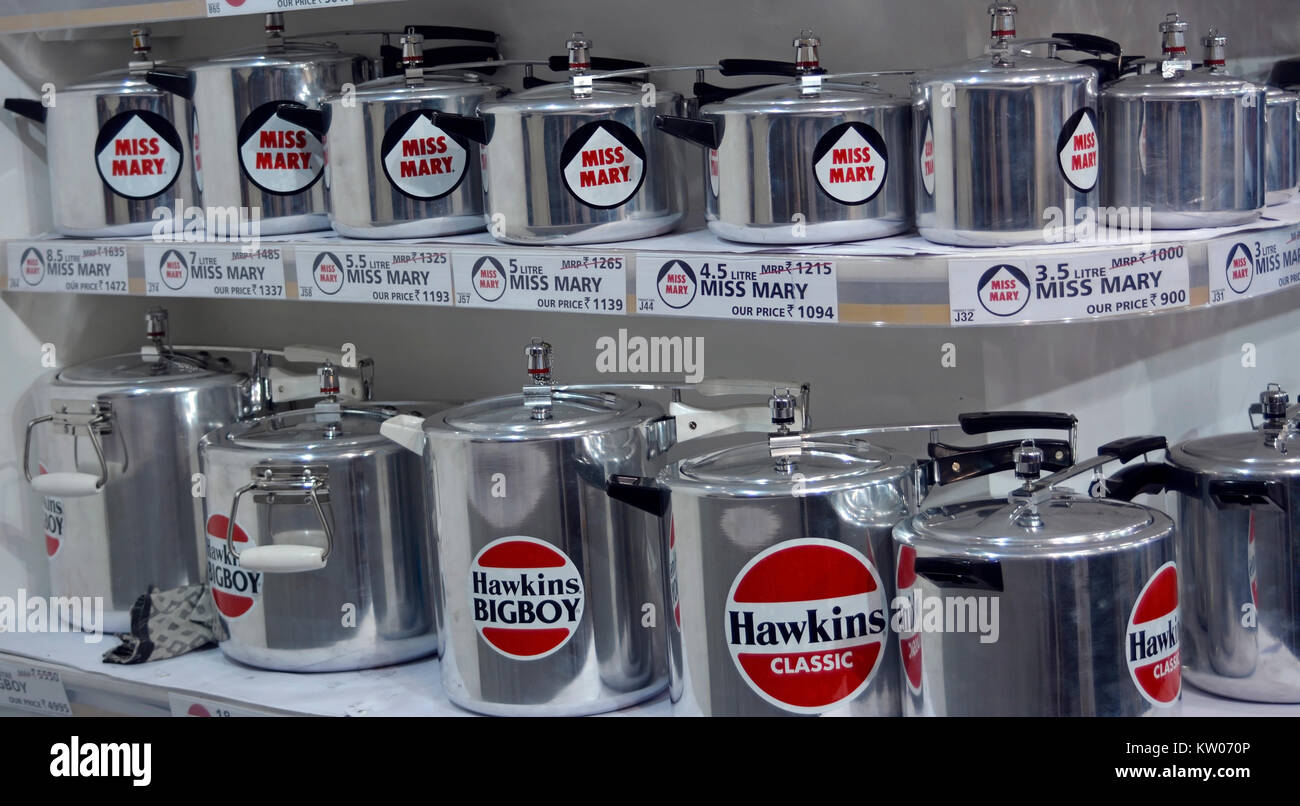 hawkins pressure cooker stall - Stock Image