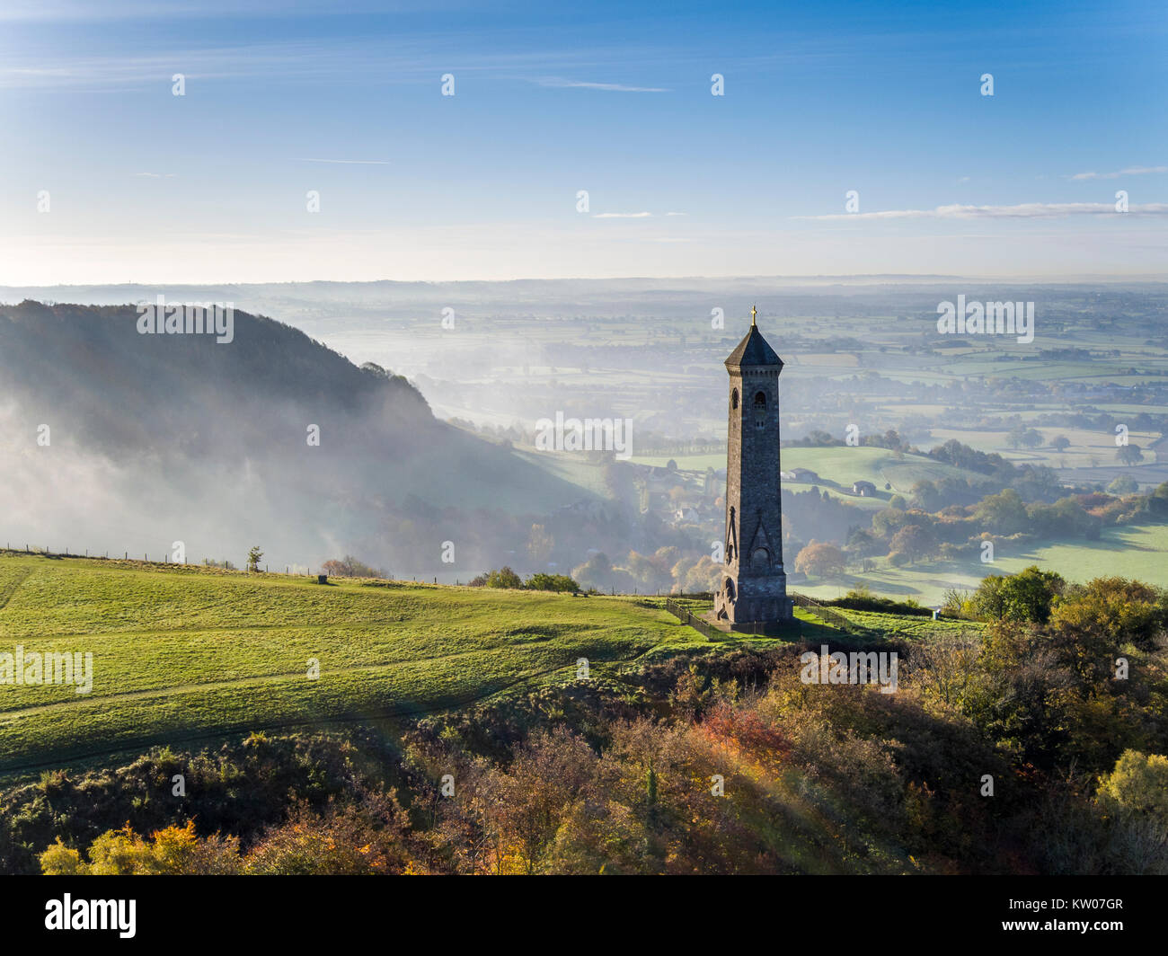 An aerial view of the Tyndale Monument in the autumn, North Nibley, Wotton-Under -Edge, Gloucestershire. Shot with - Stock Image