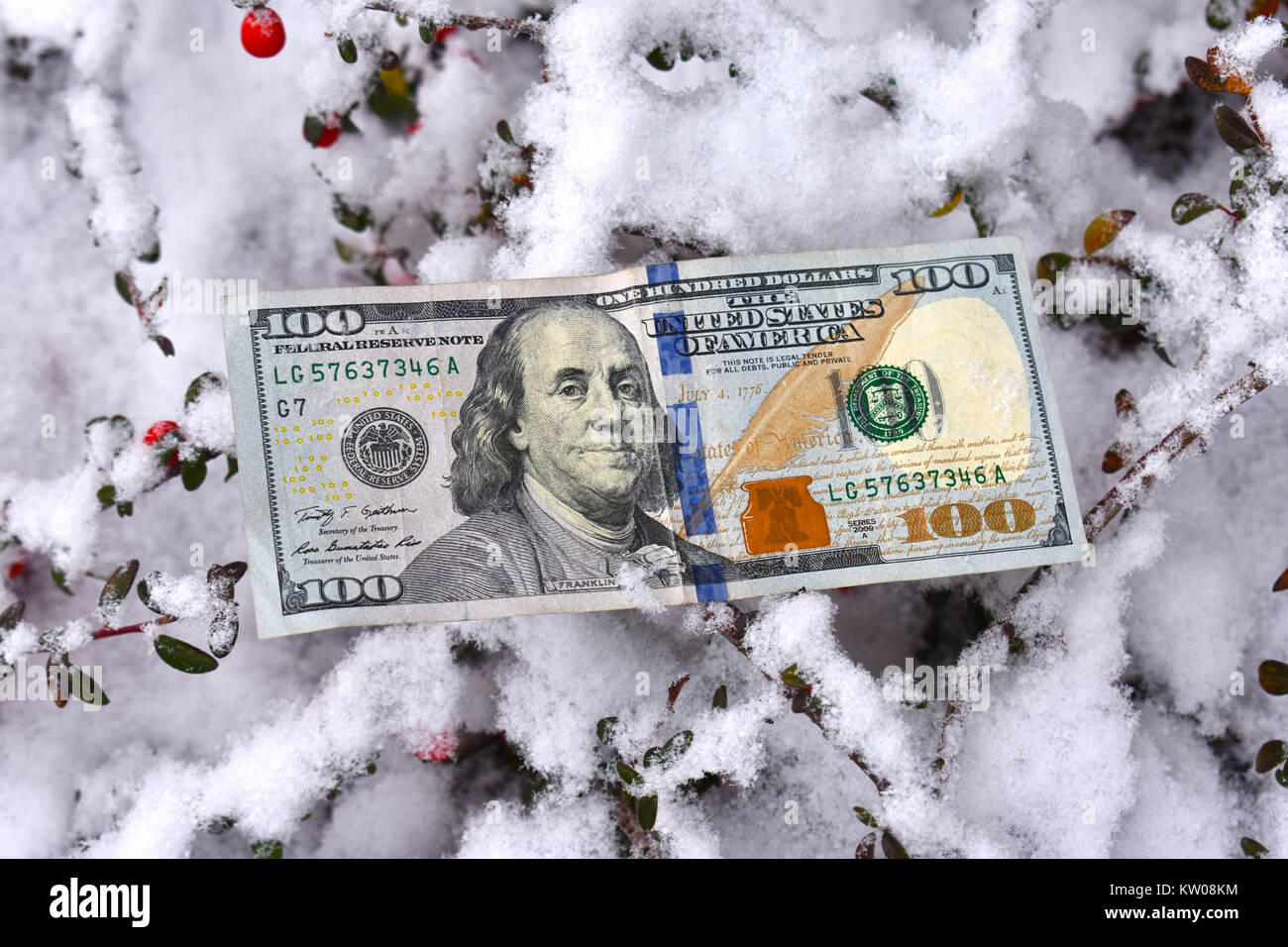 A 100 dollar U.S. bill laying in the snow - a cost of winter concept, either for cost of energy or the cost of winter - Stock Image