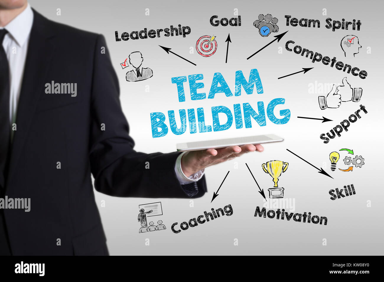 team building concept.  Chart with keywords and icons. Man holding a tablet computer - Stock Image