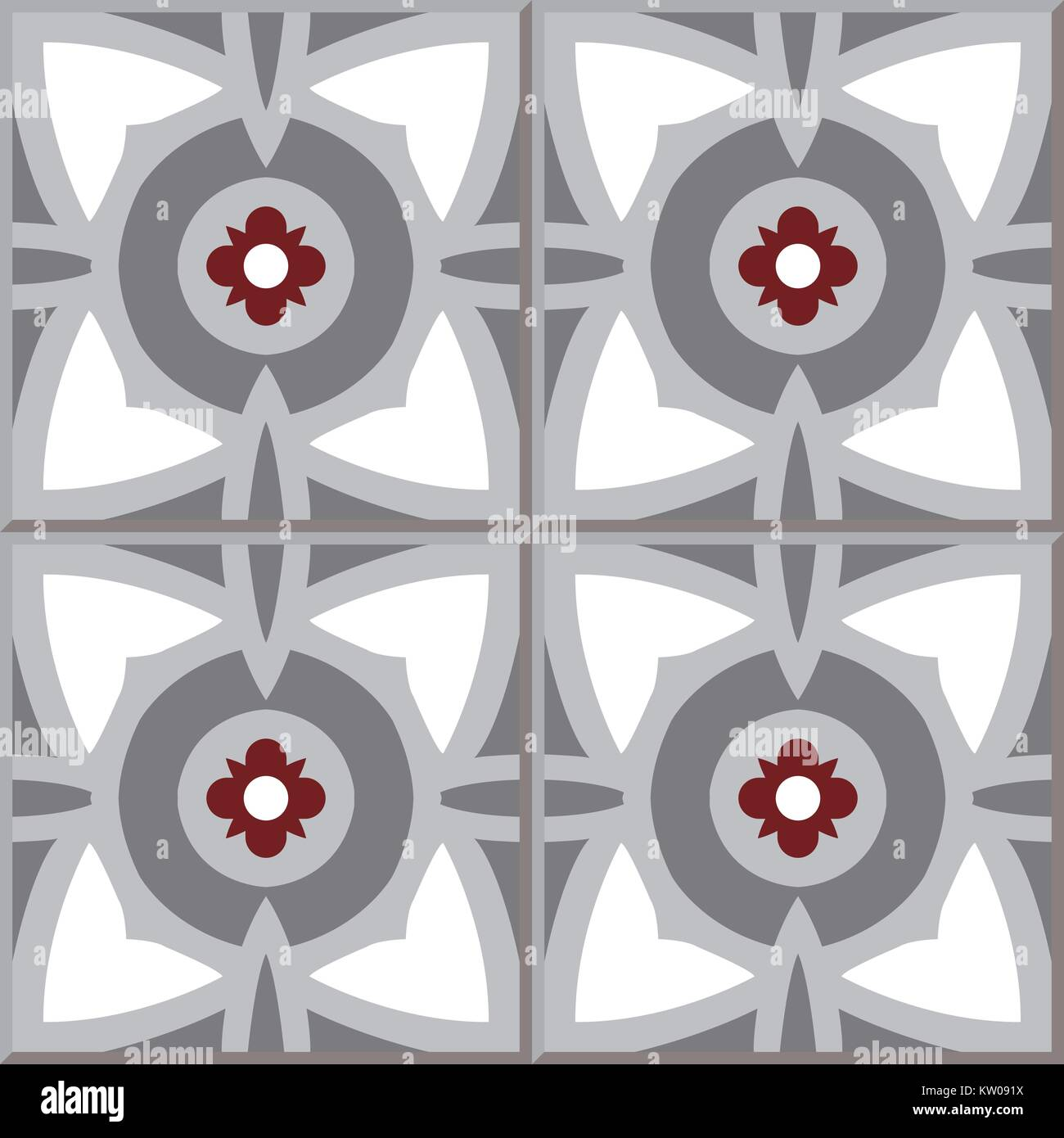 Ceramic Tile Pattern Of Grey Round Red Flower Stock Vector Image Art Alamy