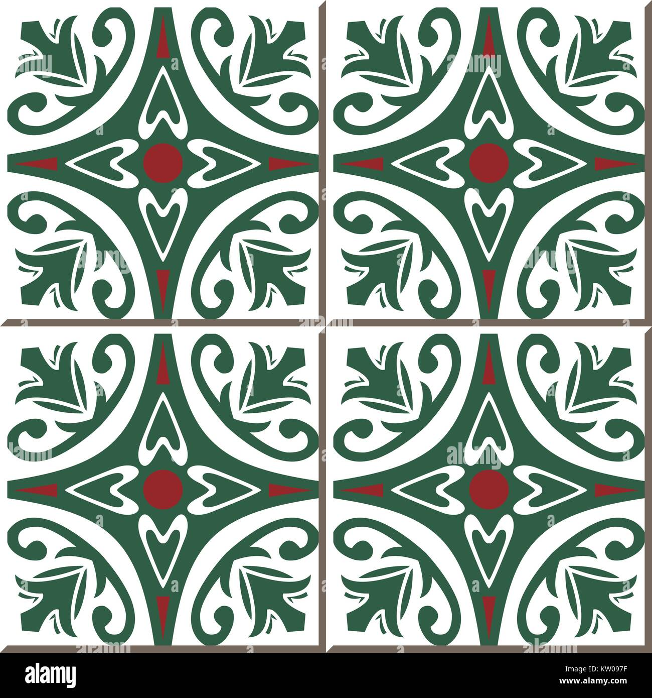 Ceramic Tile Pattern Of Garden Round Red Flower Green Vine Stock Vector Image Art Alamy