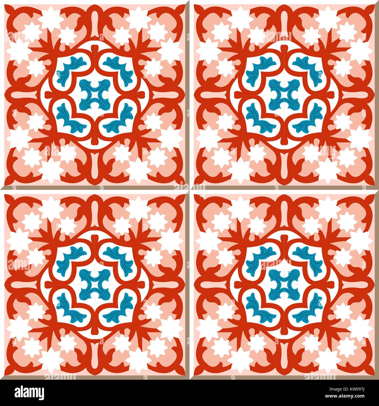 Ceramic Tile Pattern Of Red Blue Star White Flower Cross Kaleidosocpe Stock Vector Image Art Alamy